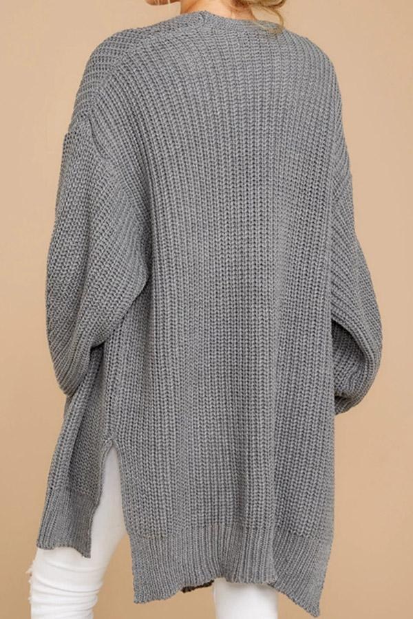 Cutout Knitted Long Sleeves Cardigans