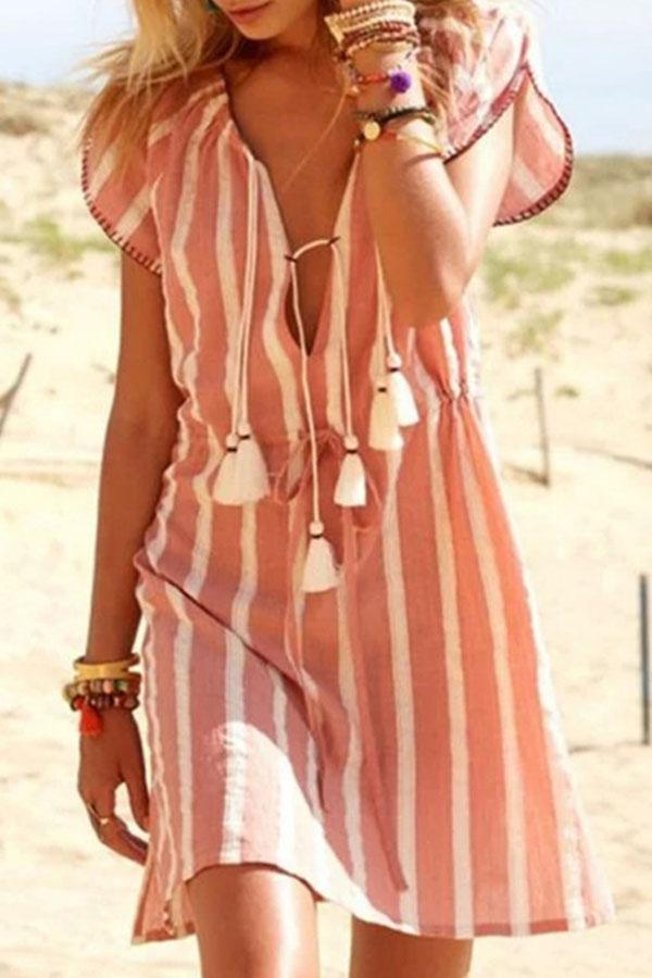 Short Sleeves Tassel Stripe Loose Mini Dress