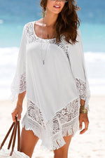Paneled Floral Lace Irregular Tassel Hem Holiday Mini Dress