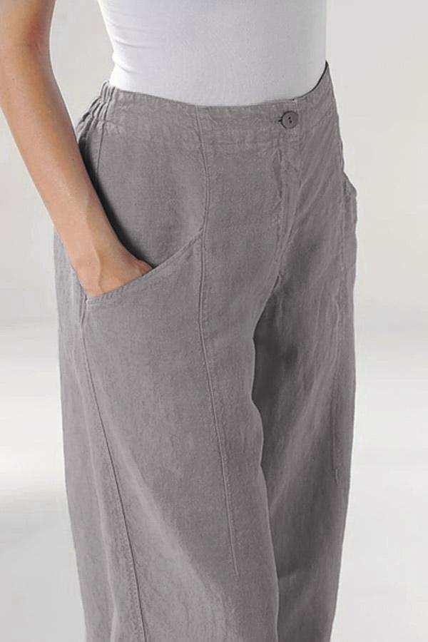 Linen Side Pockets Solid Pants