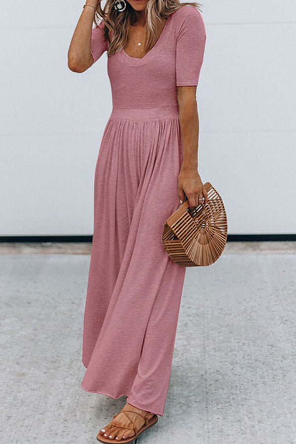 Solid Paneled Pleated Casual Wide Leg Jumpsuit