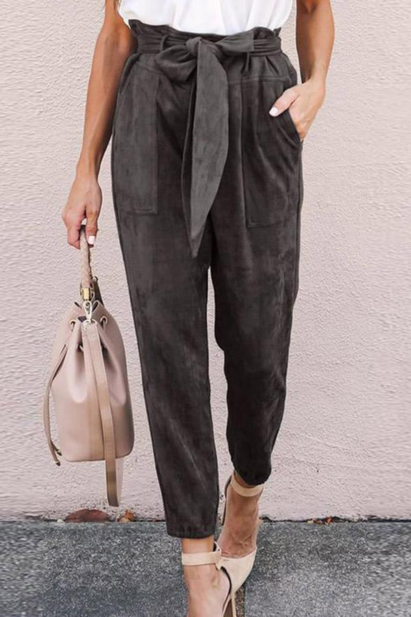 Casual Self-tie Pockets Solid Pants