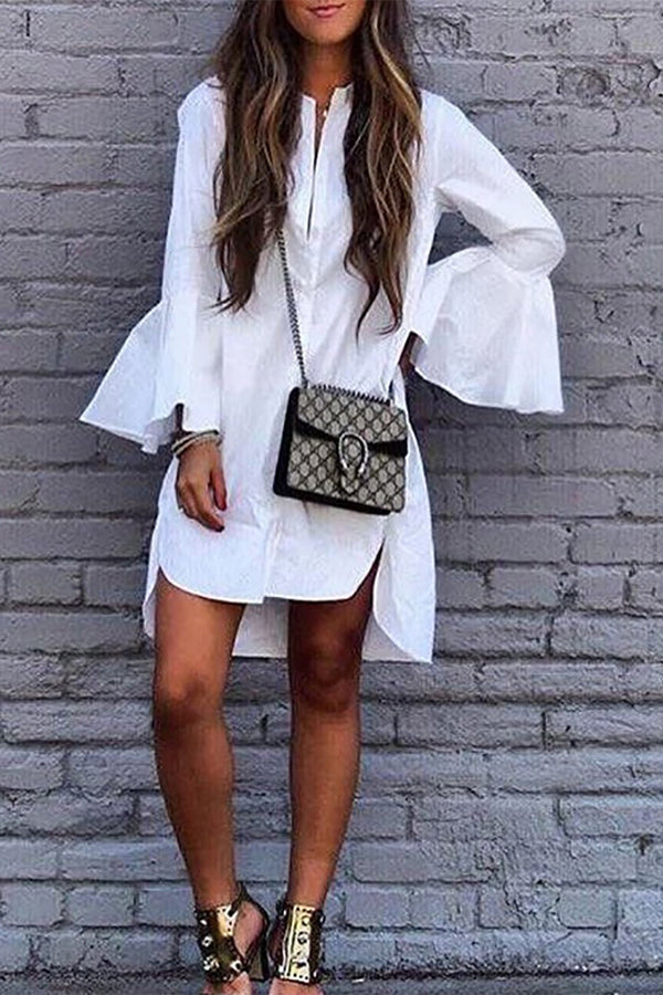 Casual Flare Sleeve High-low Hem Shirt Dress