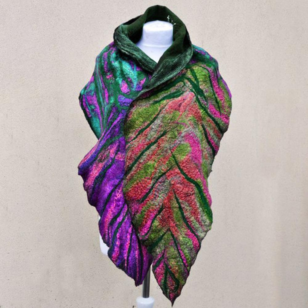 Cotton Blend Leaf Shawl and Scarf