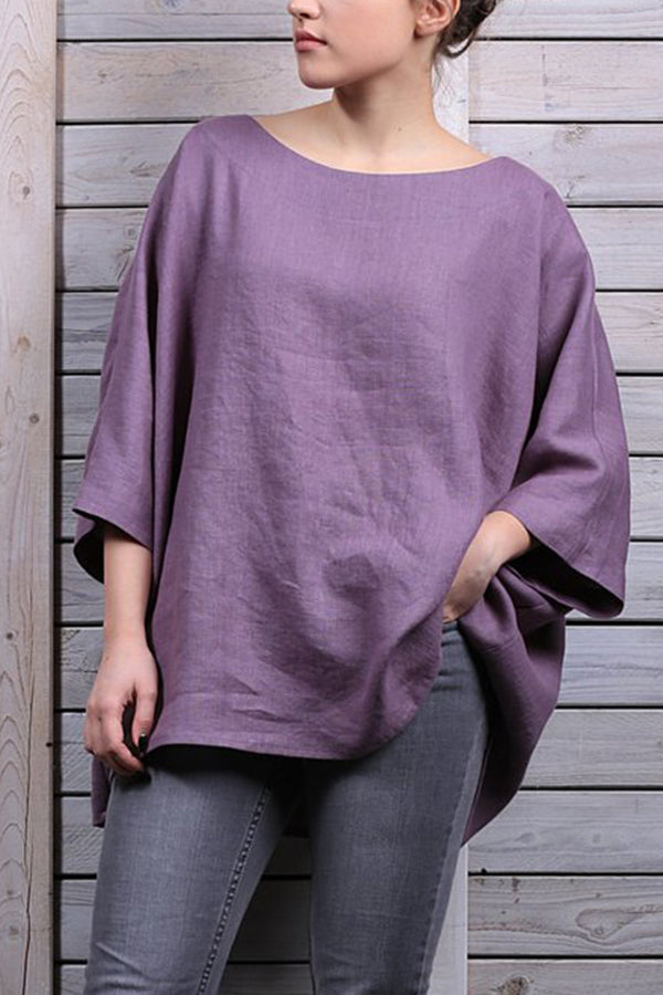 Casual Solid Crew Neck 3/4 Sleeves Blouse