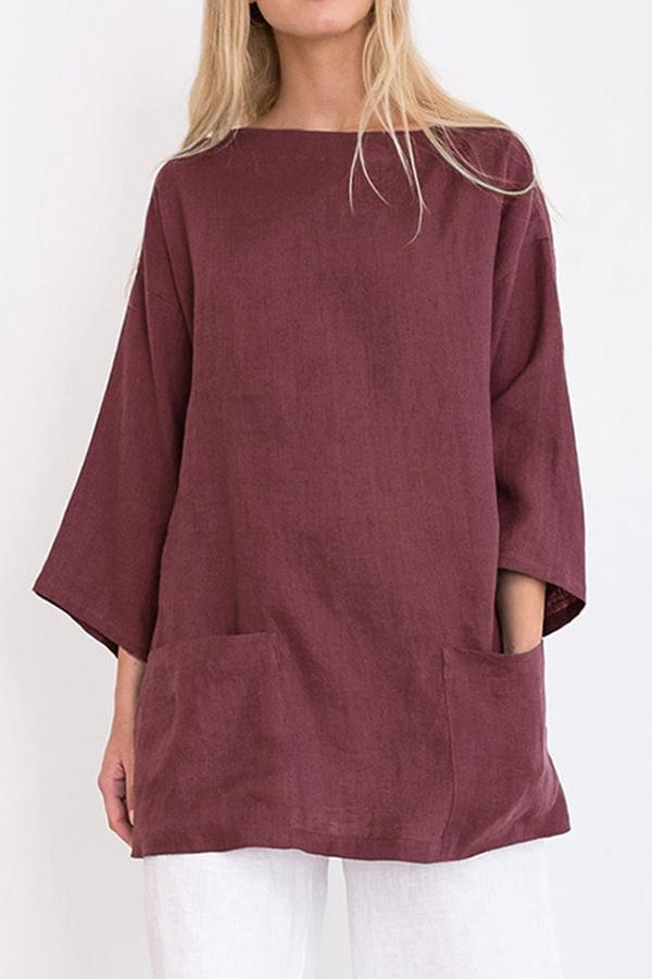 Causal Solid Bateau Loose Blouse