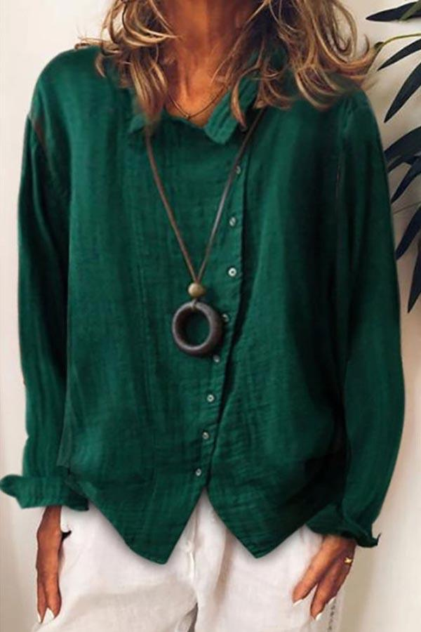 Solid Asymmetric Buttons Down Casual Blouses