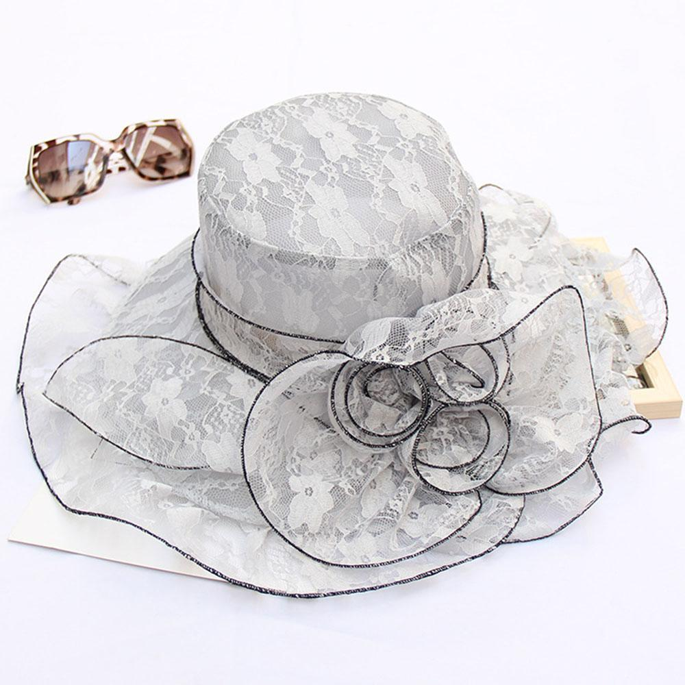 Solid Lace Flower Decoration Elegant Bucket Hats