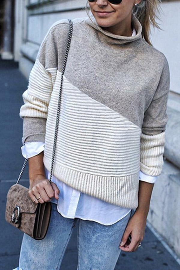 Color-block Turtleneck Casual Sweaters