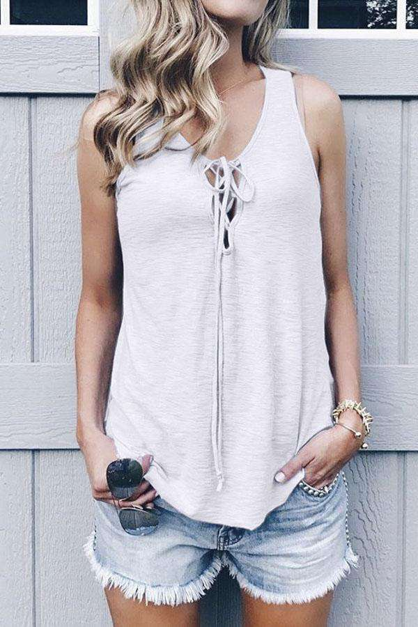 Solid Lace-up Casual Tank Top