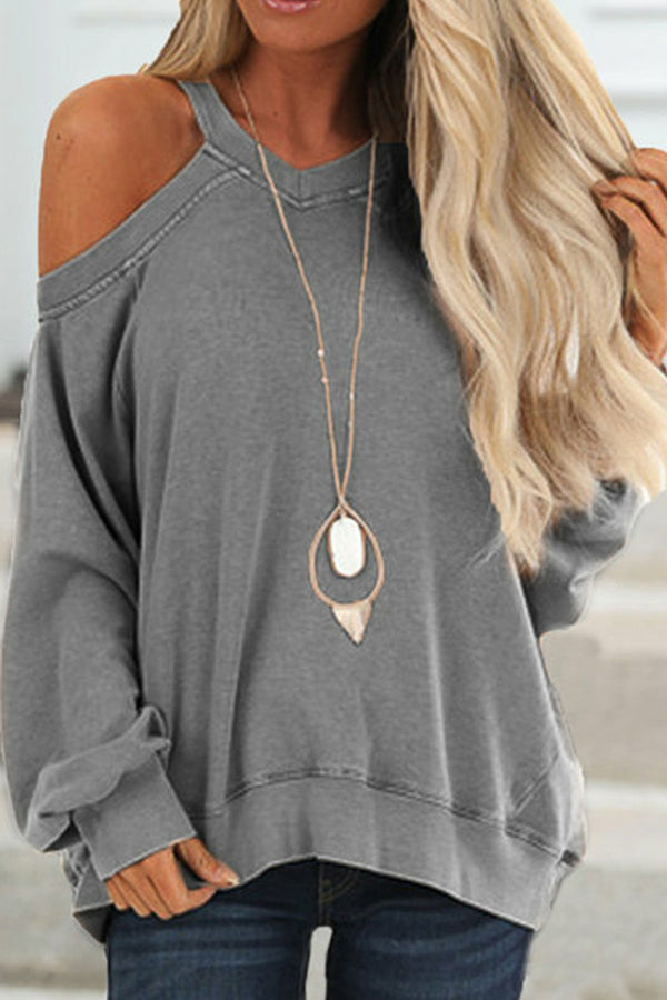 Casual Solid V-neck Cold Shoulder Sweatshirts
