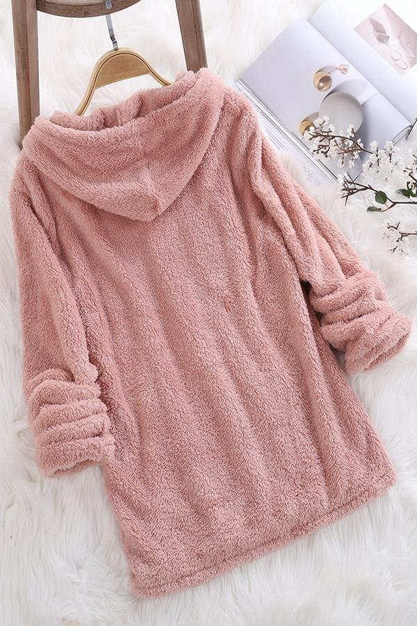 Cartoon Faux Fur Warm Hoodie Sweatshirts