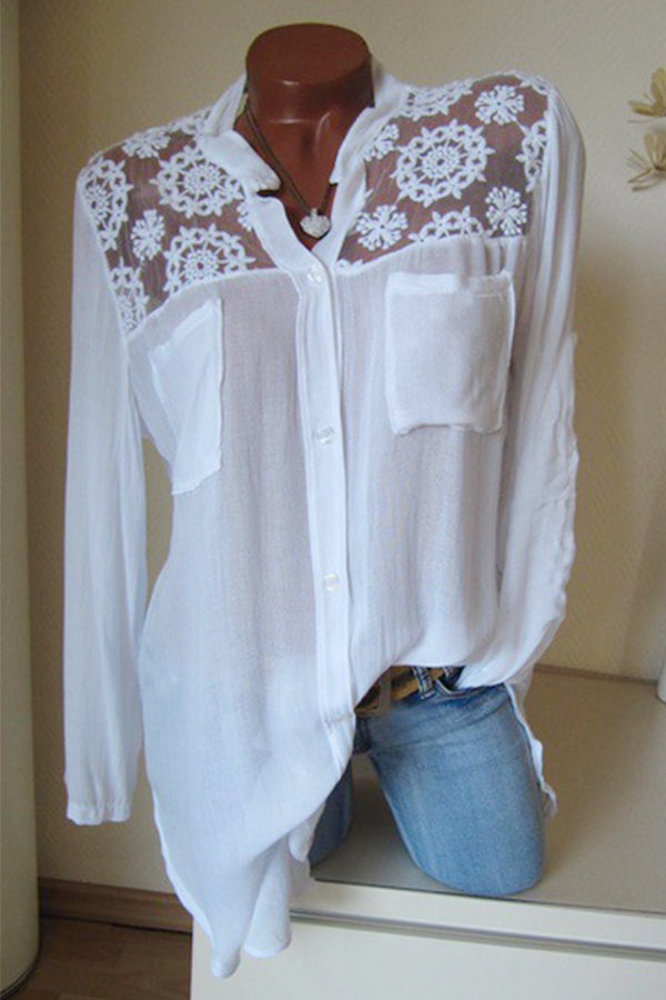 Long Sleeves Pockets Lace Blouse