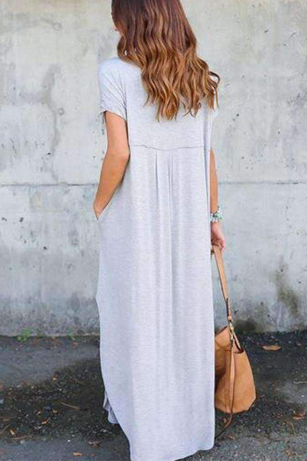 Casual V-neck Slit Hem Maxi Dress