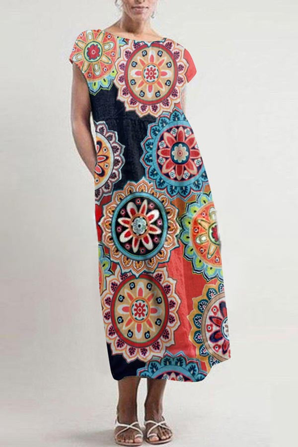 Floral Print Pleated Vintage Holiday Maxi Dress