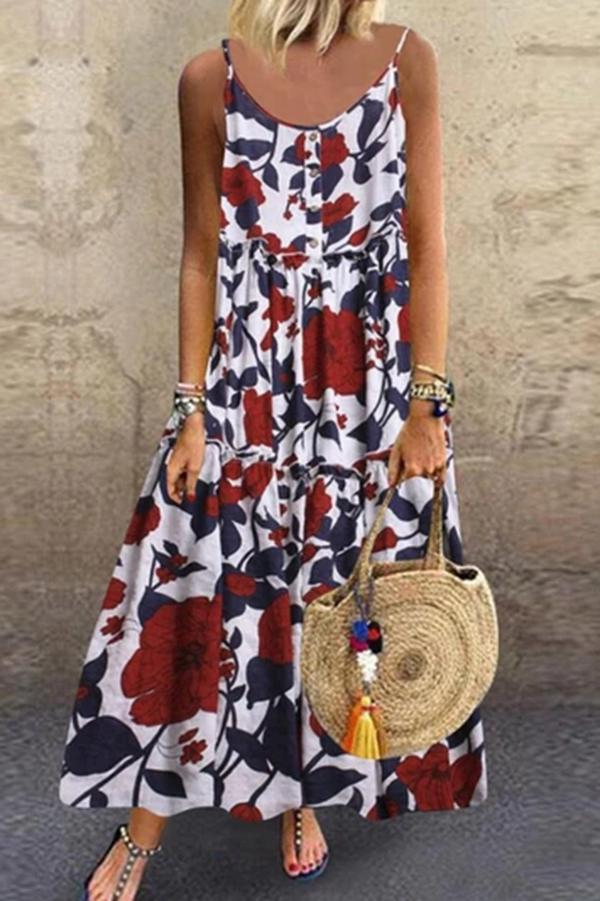 Paneled Floral Print Buttoned Sling Maxi Dress