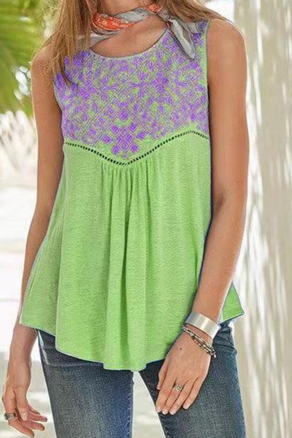 Paneled Floral Print Color-block Sleeveless Blouse