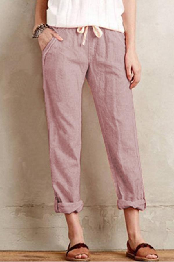 Linen Side Pockets Solid Self-tie Pants