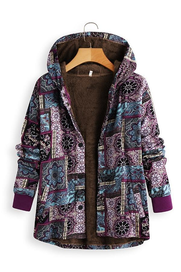 Printed Single Breasted Button Faux Fur Linen Hoodie Coat