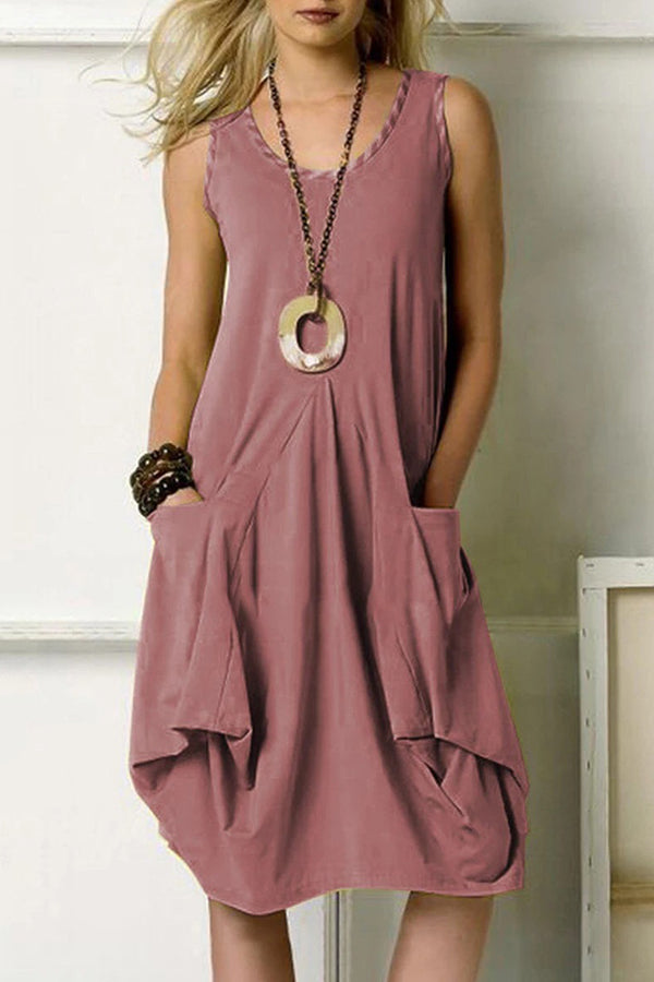 Solid Casual Sleeveless Round Midi Dress