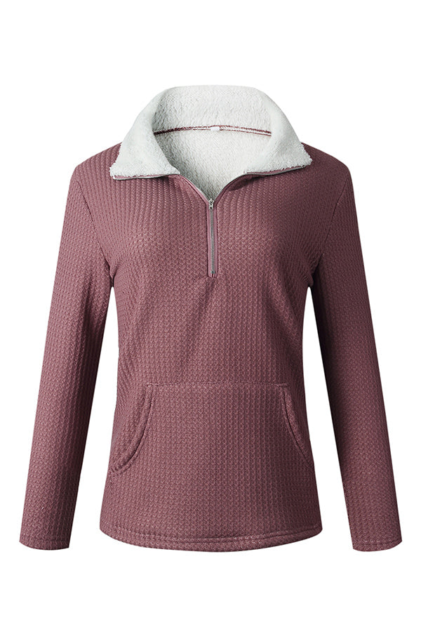 Casual Zipper Lapel Collar Pockets Sweatshirts