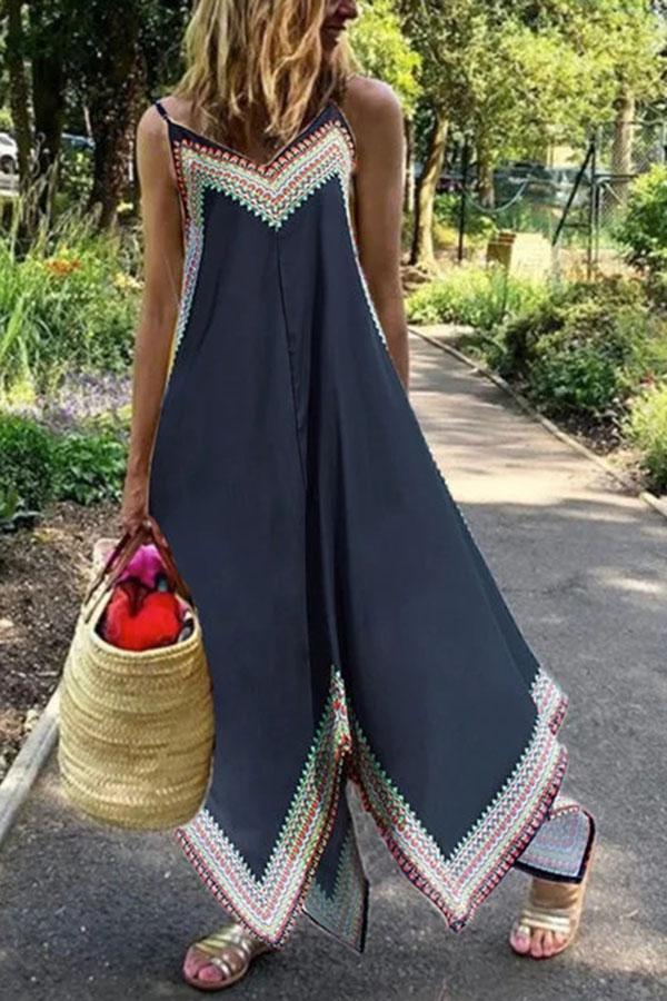 Holiday Print Sling Irregular Hem Sleeveless Midi Dress