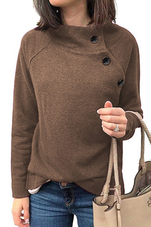 Long Sleeves Buttons Sweatshirt