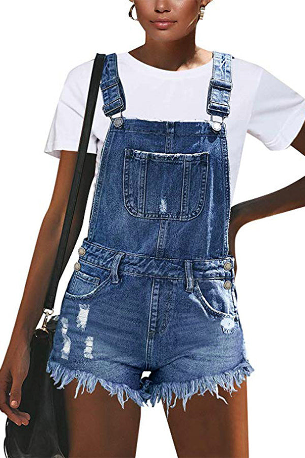 Ripped Distressed Denim Overall Short Rompers