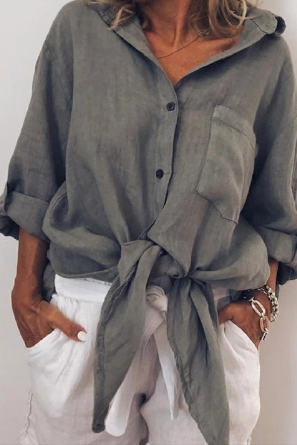 Casual Long Sleeves Twist Blouse