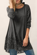 Lace Hem Long Sleeve Hooded T-shirt