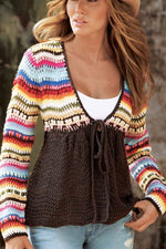 Knitted Colorblock Tie-up V-neck Sweater