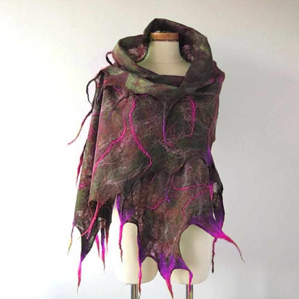 Asymmetric Print Shawl and Scarf