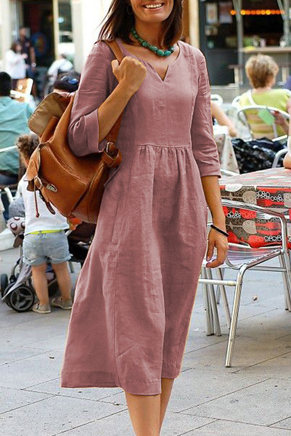 Casual Linen V- neck 3/4 Sleeve Midi Dress