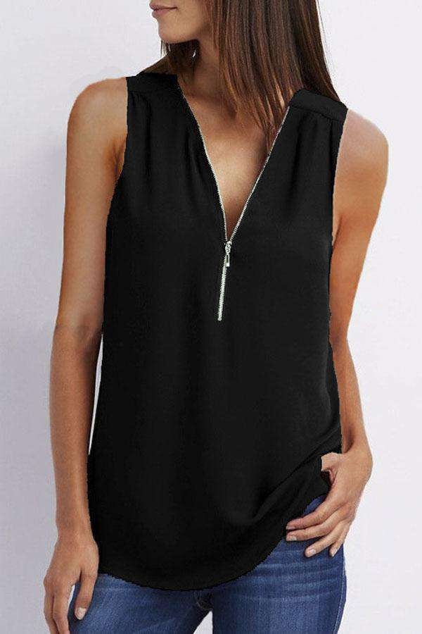 Zip Front Casual Tank Top