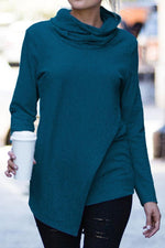 Heaps Collar Asymmetric Long Sleeve T-shirt