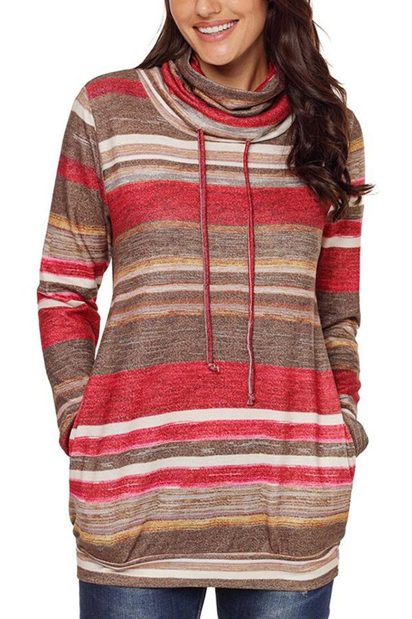 Striped Cowl Neck Pockets Sweatshirts