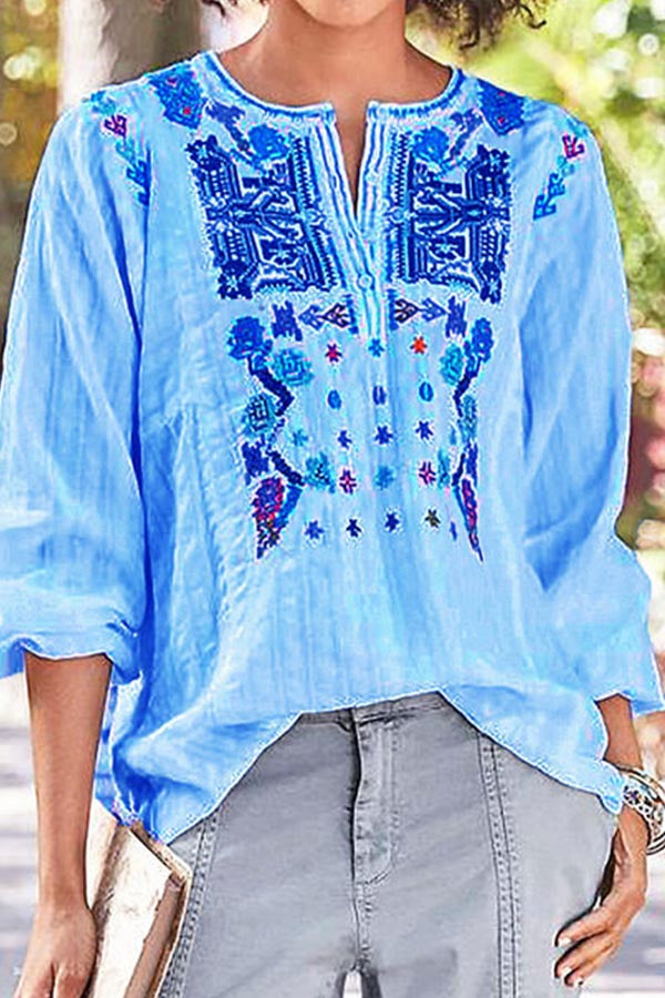 Ethnic Embroidery Long Sleeves Blouse