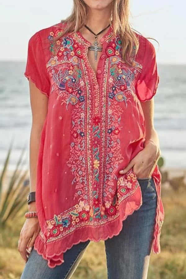 Floral Embroidery Button V-neck Frill Trim T-shirt