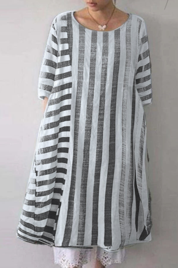 Stripe Casual Round Short Sleeves Midi Dress