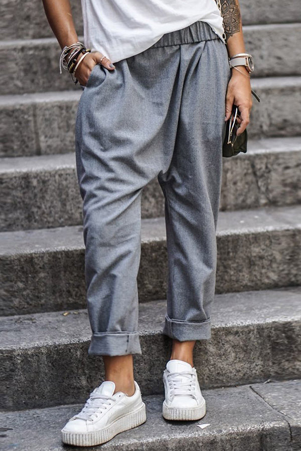 Pockets Design Casual Roll Up Pants