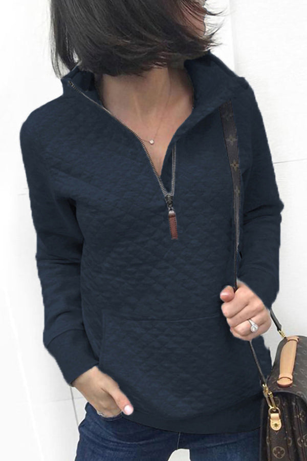 Stand Collar Long Sleeves Sweatshirt