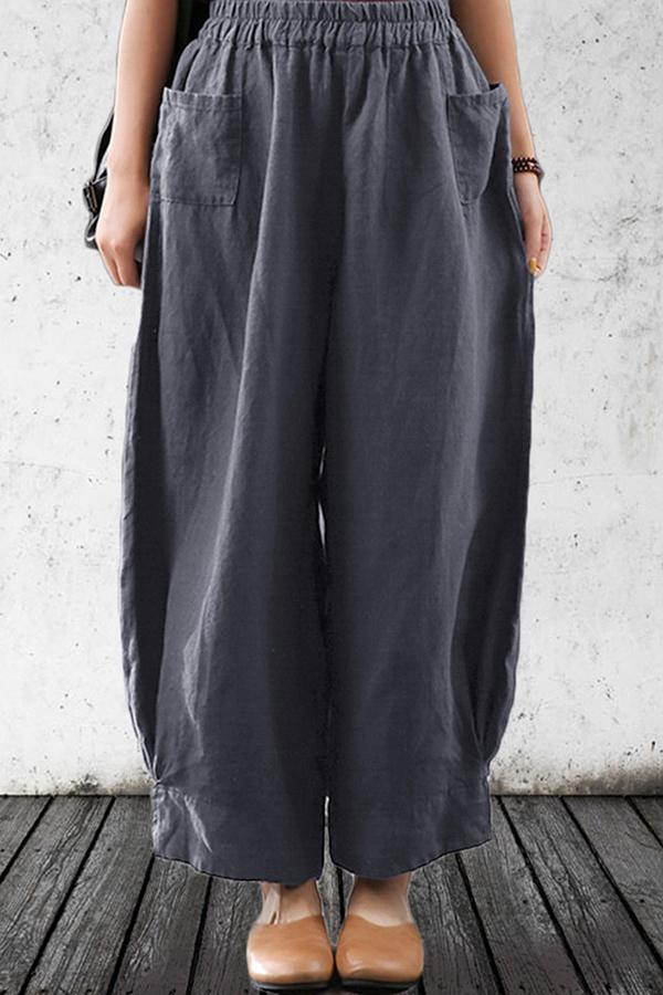 Elastic Loose Solid Side Pockets Casual Pant