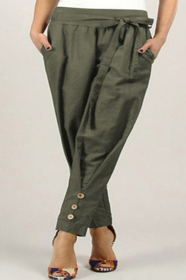 Casual Self-tie Pockets Button Design Pants