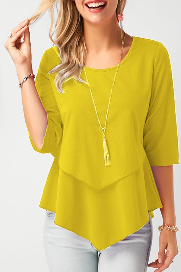 Round Neck Solid Half Sleeves Irregular Blouse