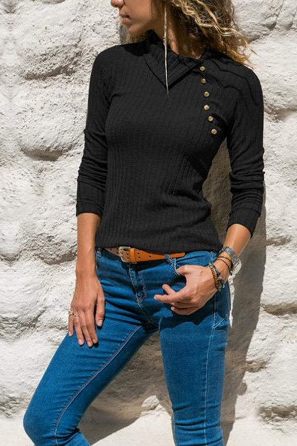 Asymmetrical Roll Neck Buttoned Long Sleeve Knitted Top