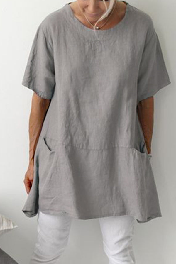 Linen Solid Crew Neck Pockets T-shirts