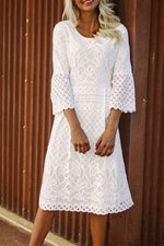 Round Neck Lace Hollow Out Midi Dress