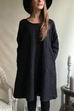 Round Neck Loose Casual Linen Dress