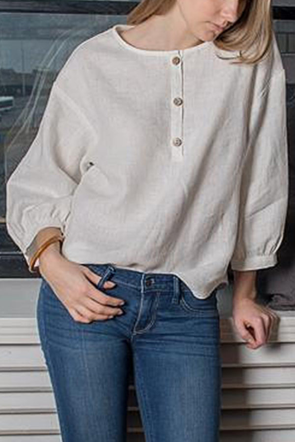 Casual Solid Button Linen Blouse