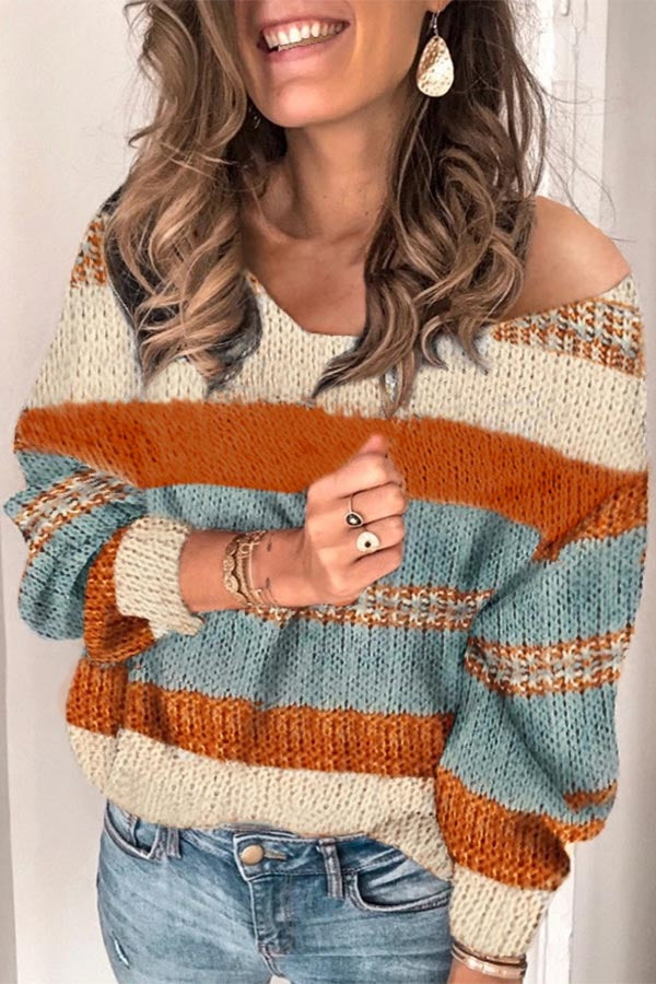 V-neck Colorblock Knitted Sweater
